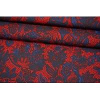 Поплин рубашечный растительный орнамент сине-красный MII-A50 05082145
