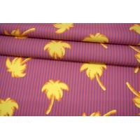 Поплин мерсеризованный желтые пальмы на полоске MII-A60 05082146