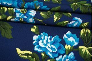 Репс хлопковый с вискозой крупные цветы на синем фоне MII-I20 06082112