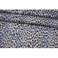 Хлопок-стрейч костюмно-плательный пятнышки бежево-голубые MII-С30 07082106