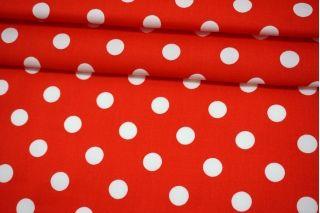 Хлопок-стрейч плательный горох красно-белый MII-C60 07082107