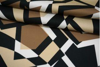Сатин-стрейч костюмно-плательный геометрия коричнево-бежевая MII-C40 07082108