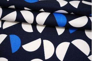 Хлопок-стрейч пике геометрия на темно-синем фоне MII-C50 07082112