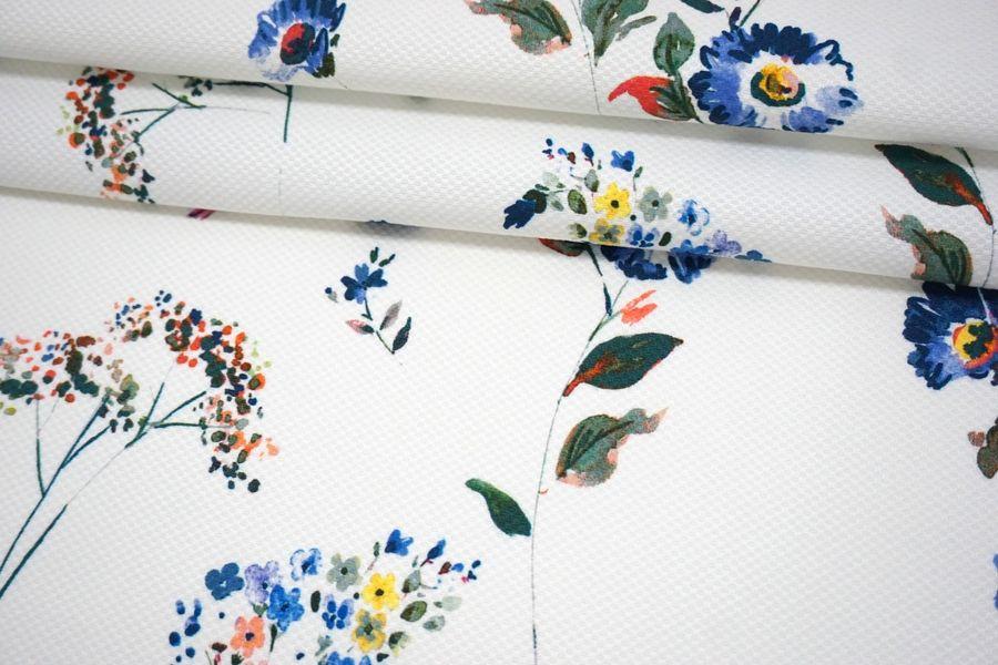 Хлопок-стрейч пике синие цветы на белом фоне MII-C50 07082114