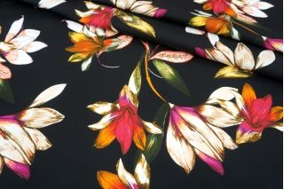 Хлопок-стрейч плательный цветы на черном фоне MII-C40 07082132