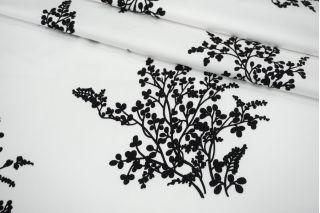 Сатин-стрейч костюмно-плательный черные веточки на белом фоне MII-C40 07082138