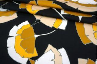 Хлопок-стрейч плательный цветы на черном фоне MII-C30 07082150