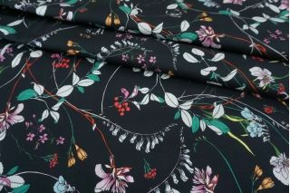 Хлопок-стрейч плательный цветы на сине-черном фоне MII-C30 08082101