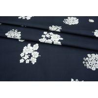 ОТРЕЗ 0,6 М Хлопок-стрейч плательный цветы на темно-синем фоне MII-(47)- 08082105-1