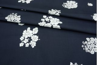 Хлопок-стрейч плательный цветы на темно-синем фоне MII-C30 08082105