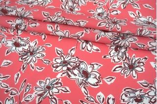 Поплин мерсеризованный цветы на розовом фоне MII-A60 08082112