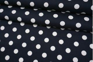 Хлопок-стрейч плательный горох белый на черно-синем фоне MII-C60 16082102