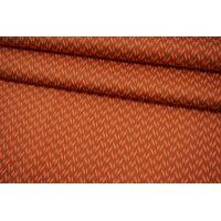 Сатин-стрейч костюмно-плательный геометрия коричнево-коралловая MII-C40 16082103