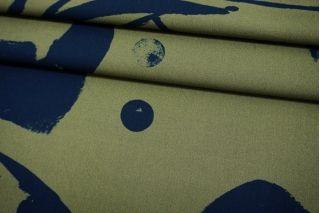 Поплин рубашечный зеленый абстракция и горох TRC 12072122