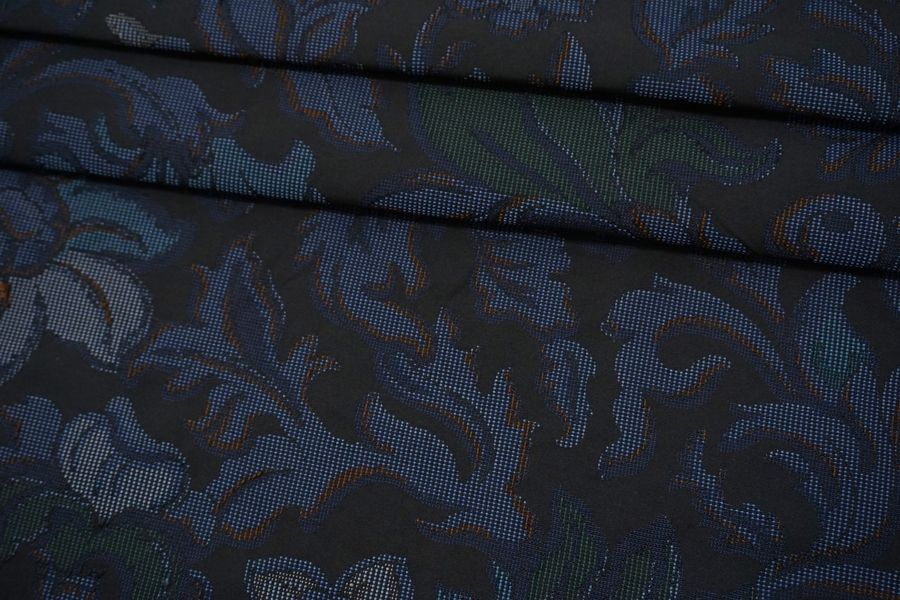 Жаккард цветы синие TRC-N70 12072139