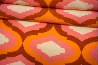 Креповая вискоза орнамент оранжево-розовый BRS-I50 12072147
