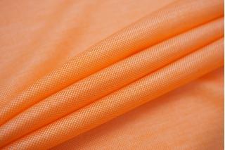 Трикотаж шелковый с вискозой оранжево-белый FRM-Y30 03052112