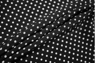 Крепдешин тонкий горошек на черном фоне FRM-N40 03052136