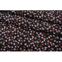 Штапель цветочки на черном фоне BRS-j60 04062101