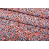 Штапель цветочки на розовом фоне BRS-j60 04062105