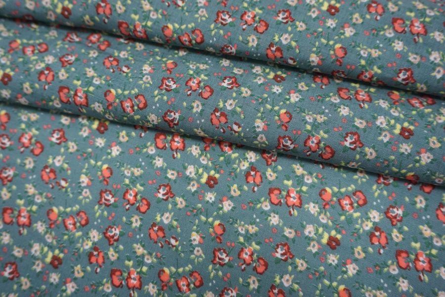 ОТРЕЗ 2,3 М Штапель тонкий цветочки на шалфейно-зеленом фоне BRS-(32)- 04062106-1
