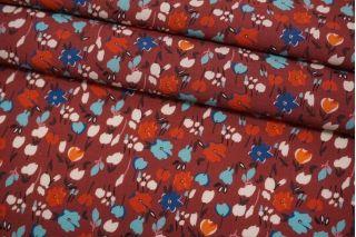 Штапель цветочки на ягодном фоне BRS-j60 04062111