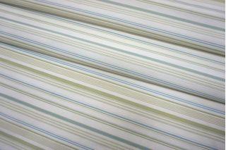 Рубашечный шелк с хлопком в полоску салатово-голубой SMF-N30 24052134