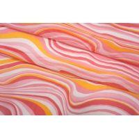 Батист шелковый с хлопком волнообразные полосы розовые SMF-N30 24052138