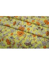 Костюмно-плательная джинса цветы на желто-зеленом фоне SMF-V50 24052143