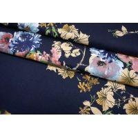 Хлопок плательный цветы на темно-синем фоне SMF-C30 24052147