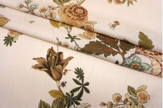 Твил тонкий цветы на бледно-бежевом фоне SMF-H60 24052154