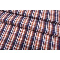 Хлопок рубашечный в клетку сине-коричневый SMF-B70 24052171