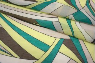 Батист шелковый с хлопком абстракция бирюзово-зеленая SMF-N30 24052173