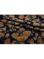 Бархат хлопковый цветы бежевые на темно-синем фоне SMF-K50 22082148