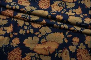 ОТРЕЗ 1,75 М Бархат хлопковый цветы бежевые на темно-синем фоне SMF-(51)- 22082148-1