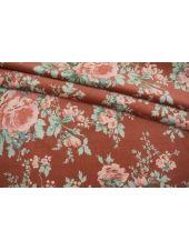 Бархат хлопковый цветы на терракотово-розовом фоне SMF-K40 22082150