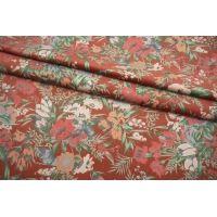 Бархат хлопковый цветы на терракотово-розовом фоне SMF-K50 23082102