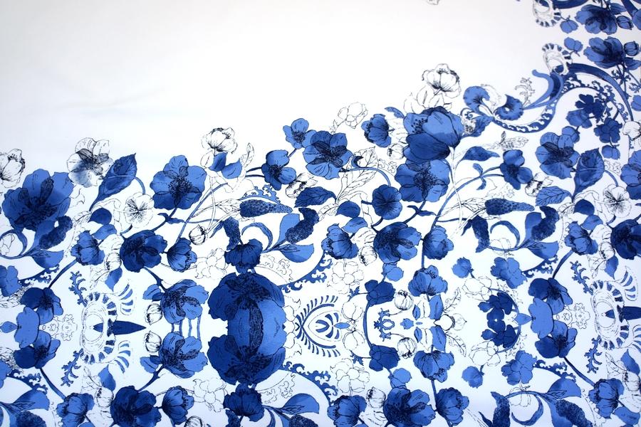Плательный хлопок цветы на белом КУПОН MX-B4 2311719