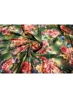 Холодный трикотаж цветы на зеленом UAE-A6 5121715