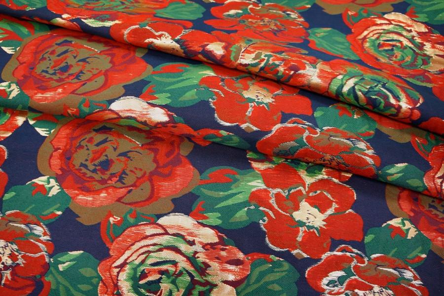 Нарядная парча цветы красные UAE1-E2 28111701