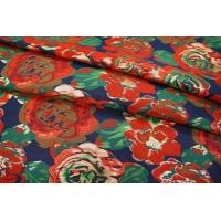 ОТРЕЗ 1,3 М Нарядная парча цветы красные UAE1 F-3 28111701-1