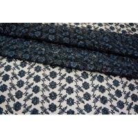 ОТРЕЗ 0,9 М Вышивка на сетке темно-синяя UAE-C6 13121701-1