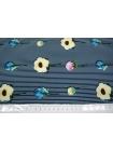 Креп-стрейч цветы на полоске UAE-F6 15011804