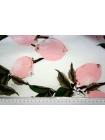 Хлопок поплин розовые плоды на белом BLP 19041721