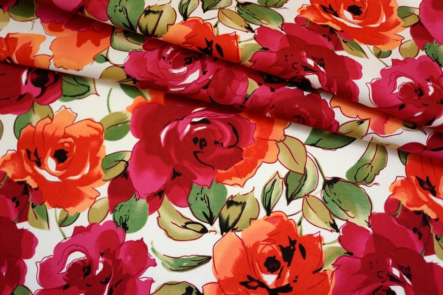 Хлопок стрейч красные цветы на белом BLP 19041732