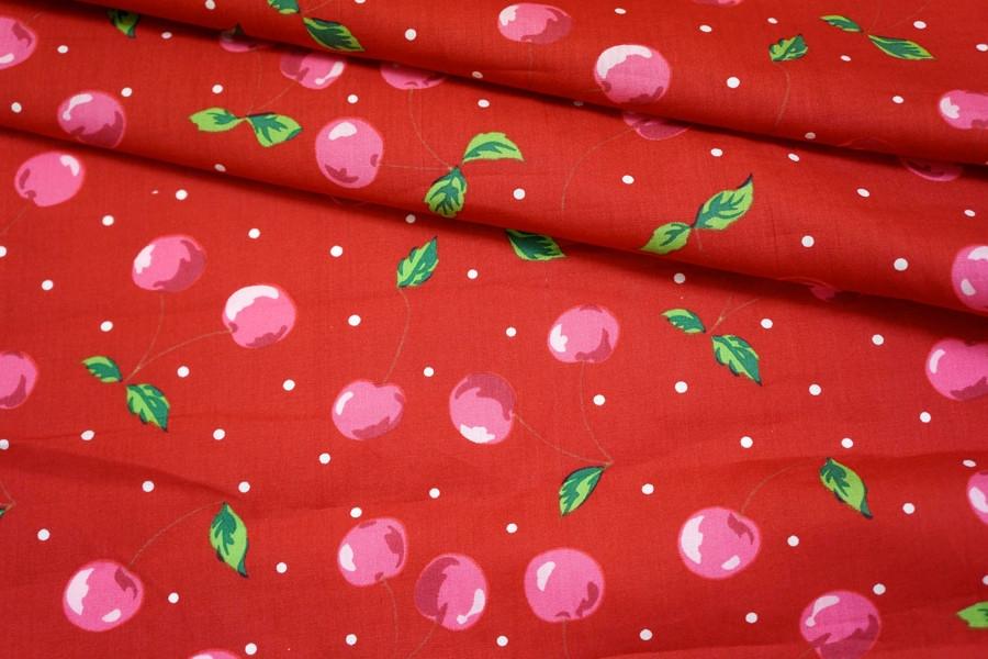 Хлопок поплин вишни на красном BLP1-B3 19041704