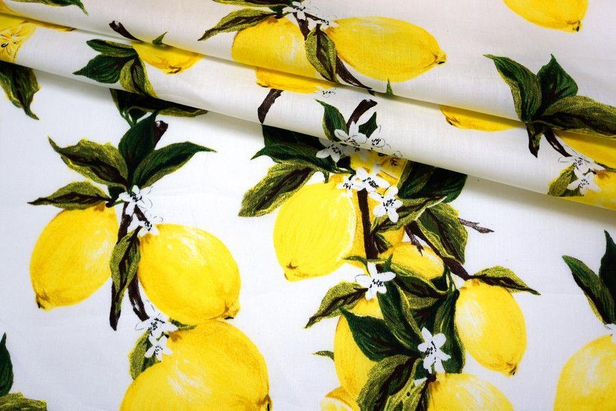 Хлопок поплин лимоны на белом BLP 19041707