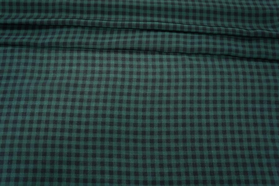 Крепдешин шелковый зеленая клетка PRT-D3 07031808