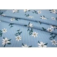 Хлопок цветы на полоске голубой UAE-I5 19011816