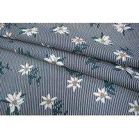 Хлопок цветы на полоске синей UAE-B6 19011817